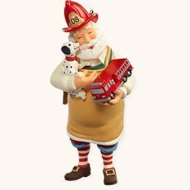 Hallmark TOYMAKER SANTA 2008 Christmas Ornament~Firefighter