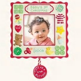New! Hallmark BABY'S FIRST CHRISTMAS Photo Holder 2008 Ornament~Cute as a Button