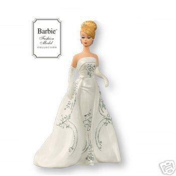 2007 Hallmark Porcelain JOYEUX BARBIE Club Exclusive Christmas ORNAMENT~Fashion Model