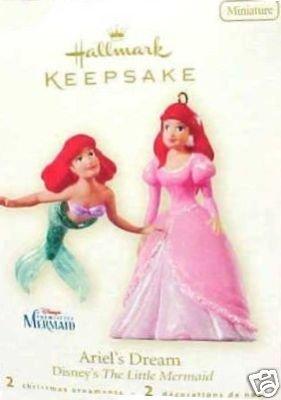 2008 Hallmark Little Mermaid ARIEL'S DREAM~Disney Christmas Ornament~Set of 2