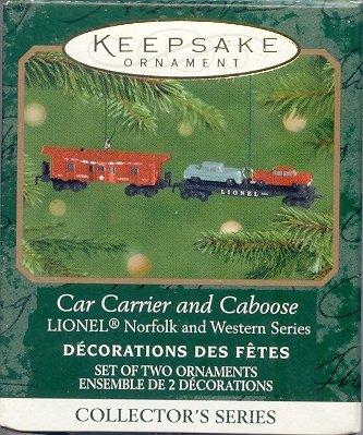 2001 Hallmark LIONEL Norfolk and Western Car Carrier and Caboose~Die-cast Trains