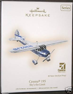 New~2007 Hallmark CESSNA 195 Airplane Christmas Ornament