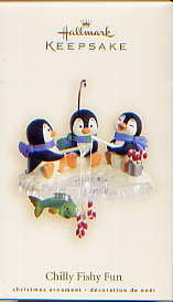 2007 Hallmark CHILLY FISHY FUN ~3 Penguins Ice Fishing~Christmas Ornament