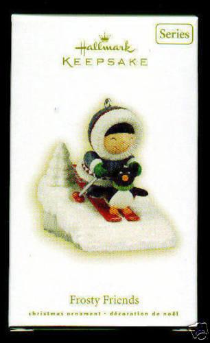 2009 Hallmark FROSTY FRIENDS Christmas ornament~#30~Eskimo with Penguin