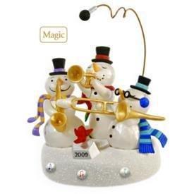 2009 Hallmark SNOWMAN BAND Lights and Sound Christmas Ornament