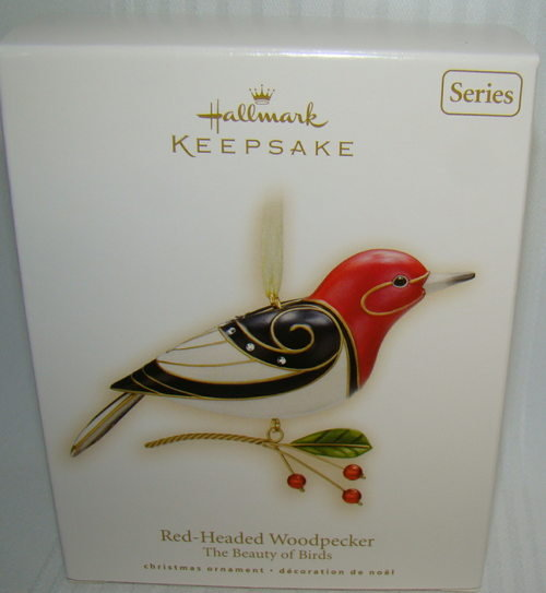 2009 Hallmark RED-HEADED WOODPECKER~Beauty of Birds Christmas Ornament NEW!