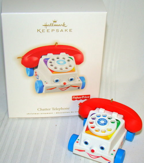 2009 Hallmark CHATTER TELEPHONE Christmas Ornament~Fisher Price Phone