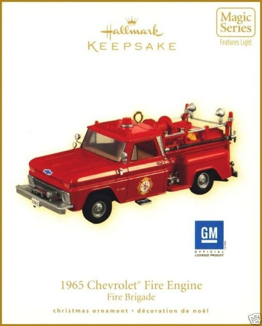New! 2009 Hallmark CHEVROLET FIRE ENGINE Christmas Ornament~Lights up