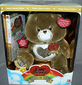 New! Care Bears HEART OF GOLD  SWAROVSKI BROWN Premier Edition+DVD