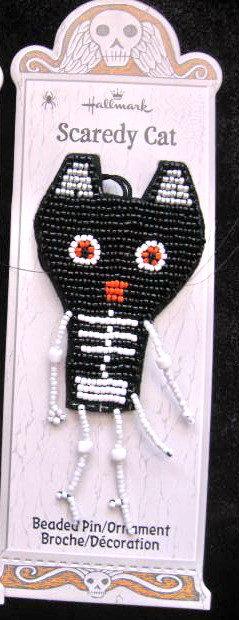 Hallmark BEADED Halloween Scaredy Black CAT PIN/Ornament