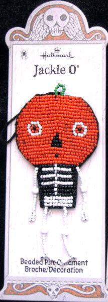 Hallmark BEADED Halloween JACKIE O' Pumpkin Pin/Ornament