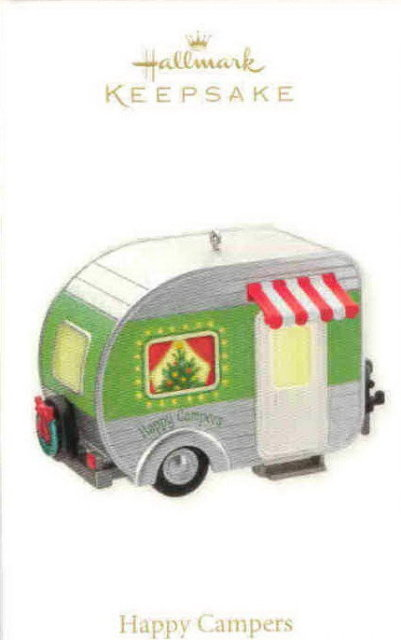 New Hallmark 2010 HAPPY CAMPER Trailer Lights up Christmas Ornament