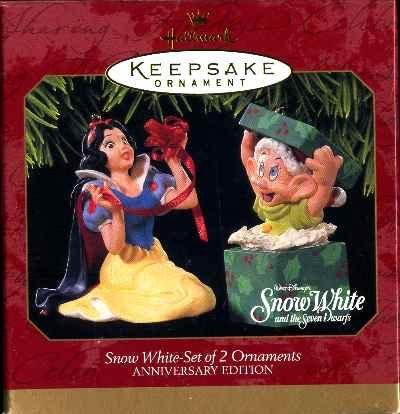 New SNOW WHITE and DOPEY 2 Disney Christmas Ornaments Hallmark 1997