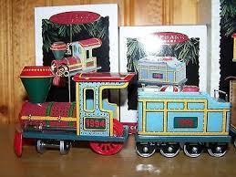YULETIDE CENTRAL Tin Locomotive & Tender Train Car w/ Candy~ Hallmark Ornaments 1994/1995
