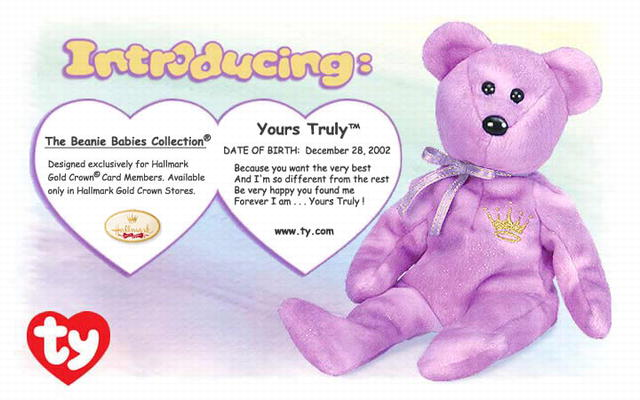TY Yours Truly Hallmark Gold Crown Exclusive Beanie Baby Bear