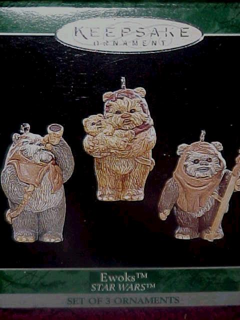 EWOKS:  Hallmark Star Wars set of 3 Ornaments 1998