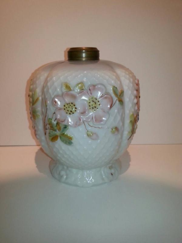 Antique 'Cosmos' pattern glass oil lamp.