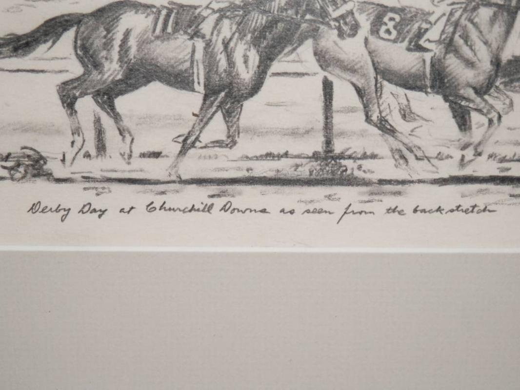 Rare Richard Stone Reeves Original Kentucky Derby Pencil Drawing.