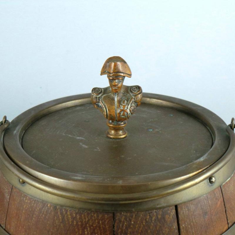 English Oak Biscuit Barrel. Figural Finial. Porcelain Lined.