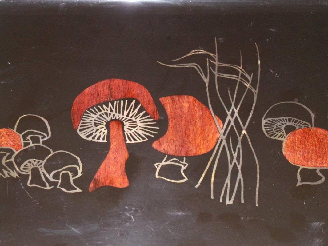 Mid-Century Modern Mushroom decorated serving tray by Couroc.