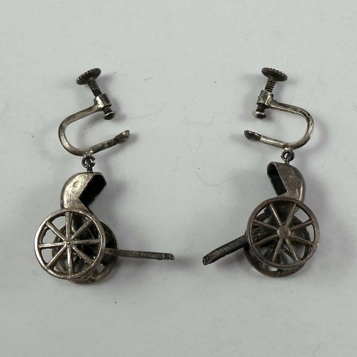 Pair of Vintage Sterling Silver Rickshaw Earrings.