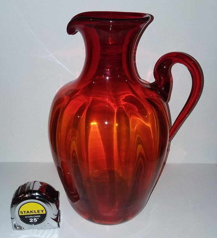 Vintage Large Blenko Art Glass Pitcher with an applied handle. 14