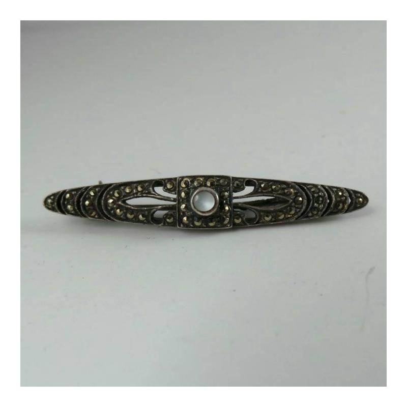Vintage Sterling silver, Moonstone, and marcasite bar pin.