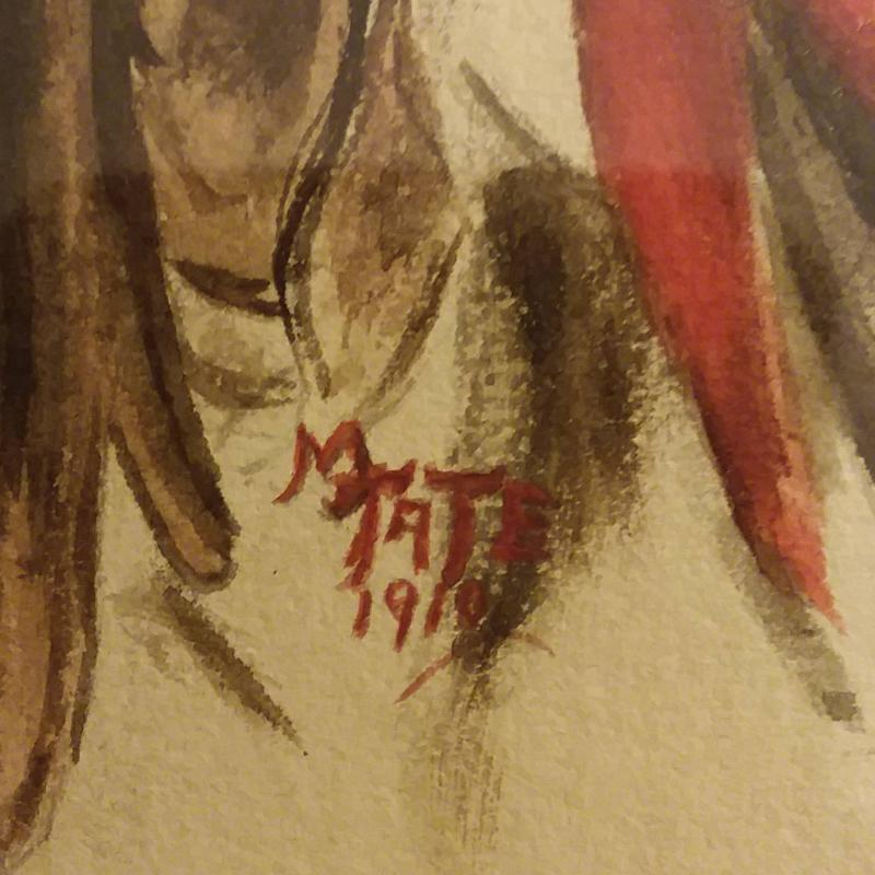 M. Tate Watercolor Painting after Harrison Fisher's
