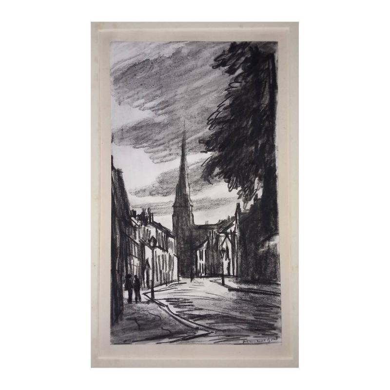 Muirhead Bone Graphite Drawing of a european street scene with buildings. Signed lower right.