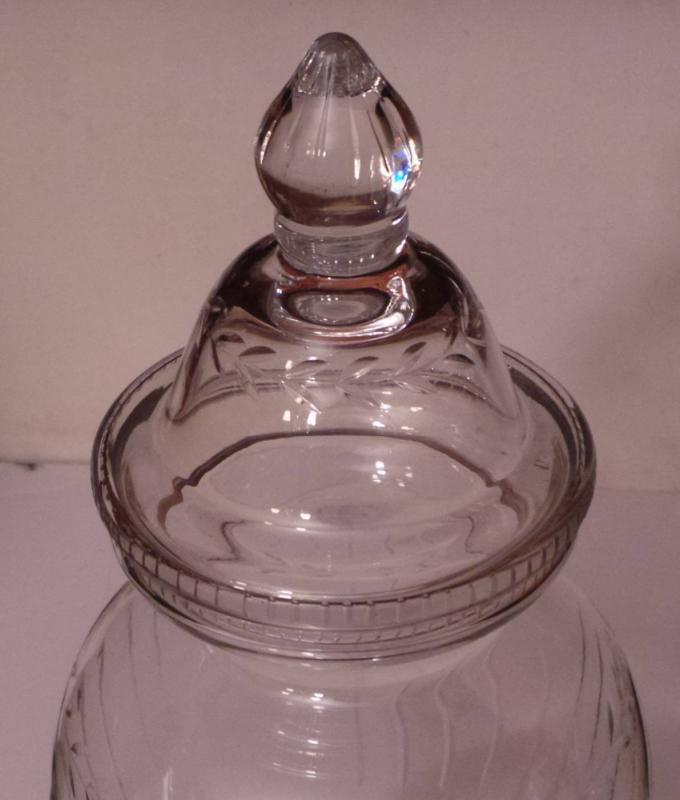 Vintage Cut Crystal Apothecary Style Jar w/Lid. 19 3/4