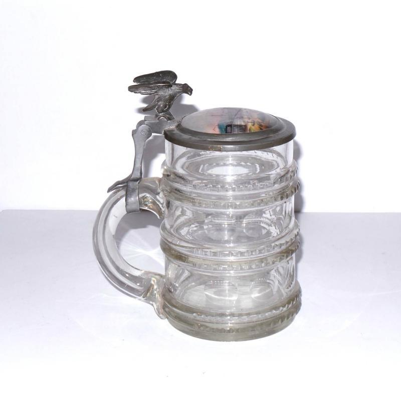 Antique German Beer Stein with a Hand Painted Porcelain Lid & a Figural Eagle Thumb Lift.