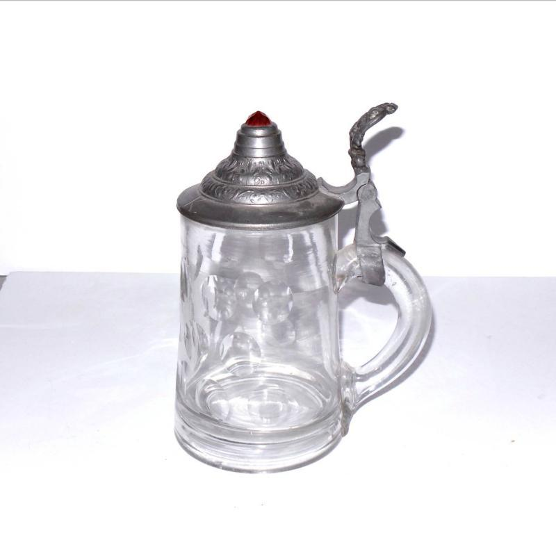 Antique German Beer Stein w/Cut Decoration and a Faceted Red Jewel Set in a Pewter Lid.