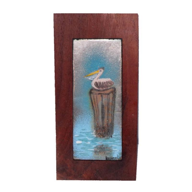 Rowena Anderson Enamel Painting on Copper of a Nantucket Shore Scene Depicting a Pelican on a Pier Pillar