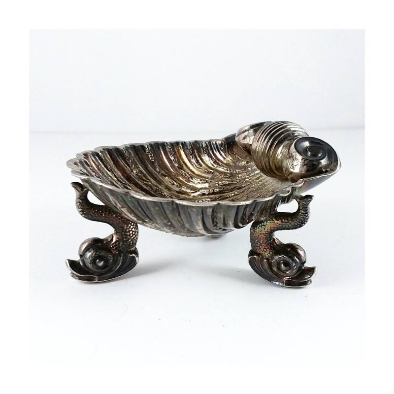 Antique 19th Century Sterling Silver Salt Cellar. Shell form with dolphin feet. Birmingham England Hallmarks. Make an Offer!