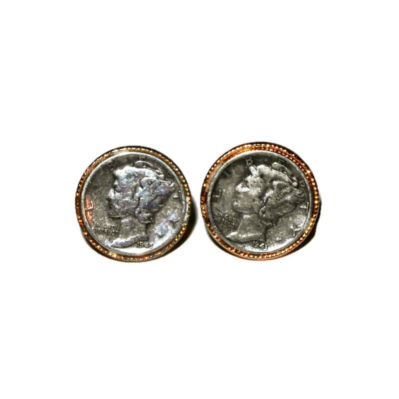 Pair of Mercury Dime Cufflinks. 1943 & 1945 Dates.