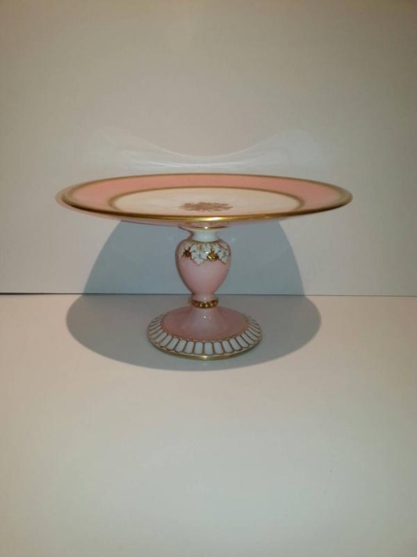 Antique porcelain cake stand in Pink and Gold.