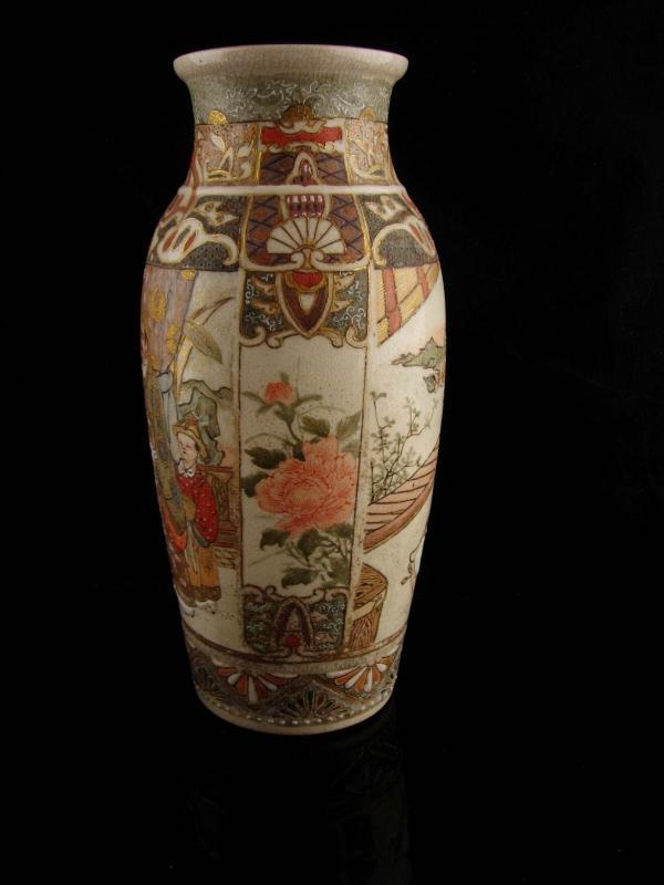 Vintage Japanese Moriage vase - Satsuma - handpainted  - Antique Japanese warrior - Japan pottery