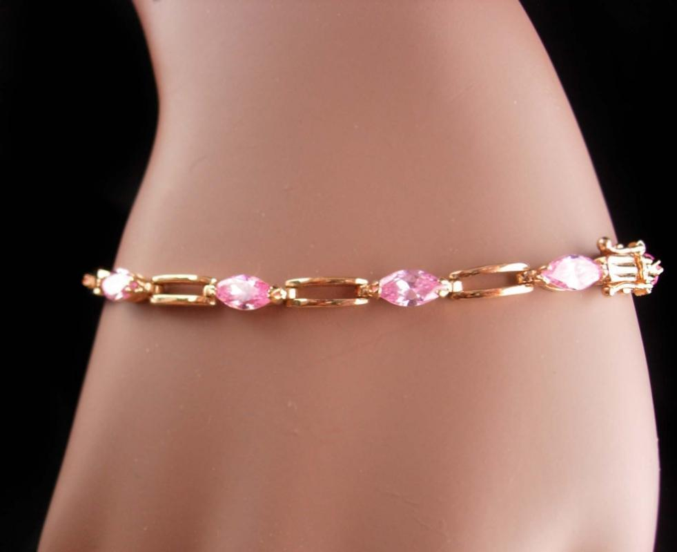 Stunning Sterling PINK marquise gold Bracelet - October birthstone - Libra gift - Vintage sweetheart gift - anniversary gift