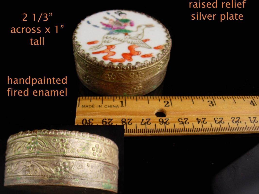 Chinese Enamel Box - Asian girl on bird - Oriental trinket case - antique handpainted casket - keepsake jewelry case Vintage metal nut box