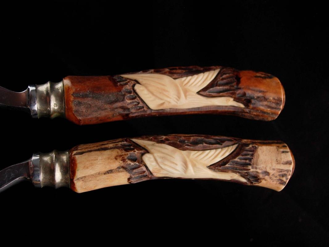 Vintage hand carved shears - Poultry Scissors - hunter elk gift - hunting geese - carved handles