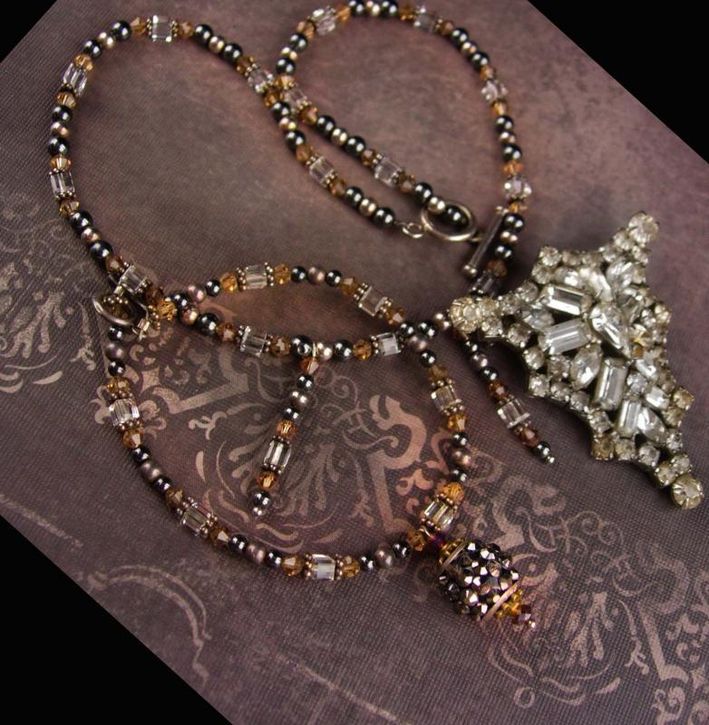 Vintage Rhinestone glass necklace and bracelet - vintage art deco  brooch - assemblage statement necklace - ooak toggle set