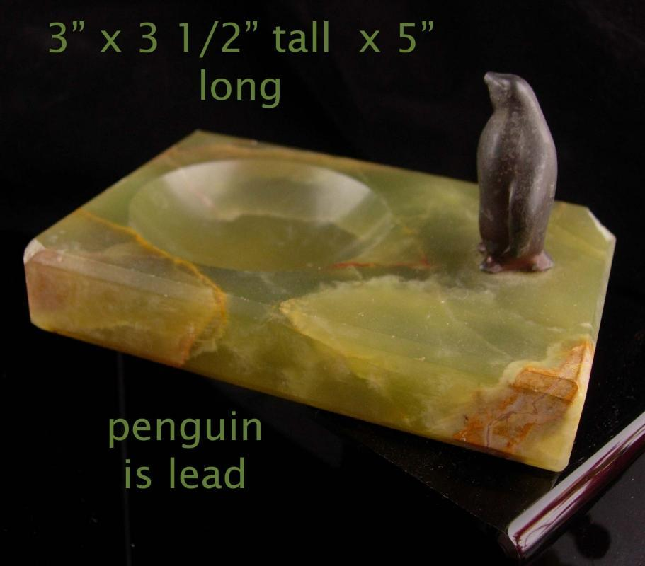 Vintage Marble Penguin tray  - trinket dish - Desk tray accessory - gift for dad - bird lover gift - art deco pipe rest