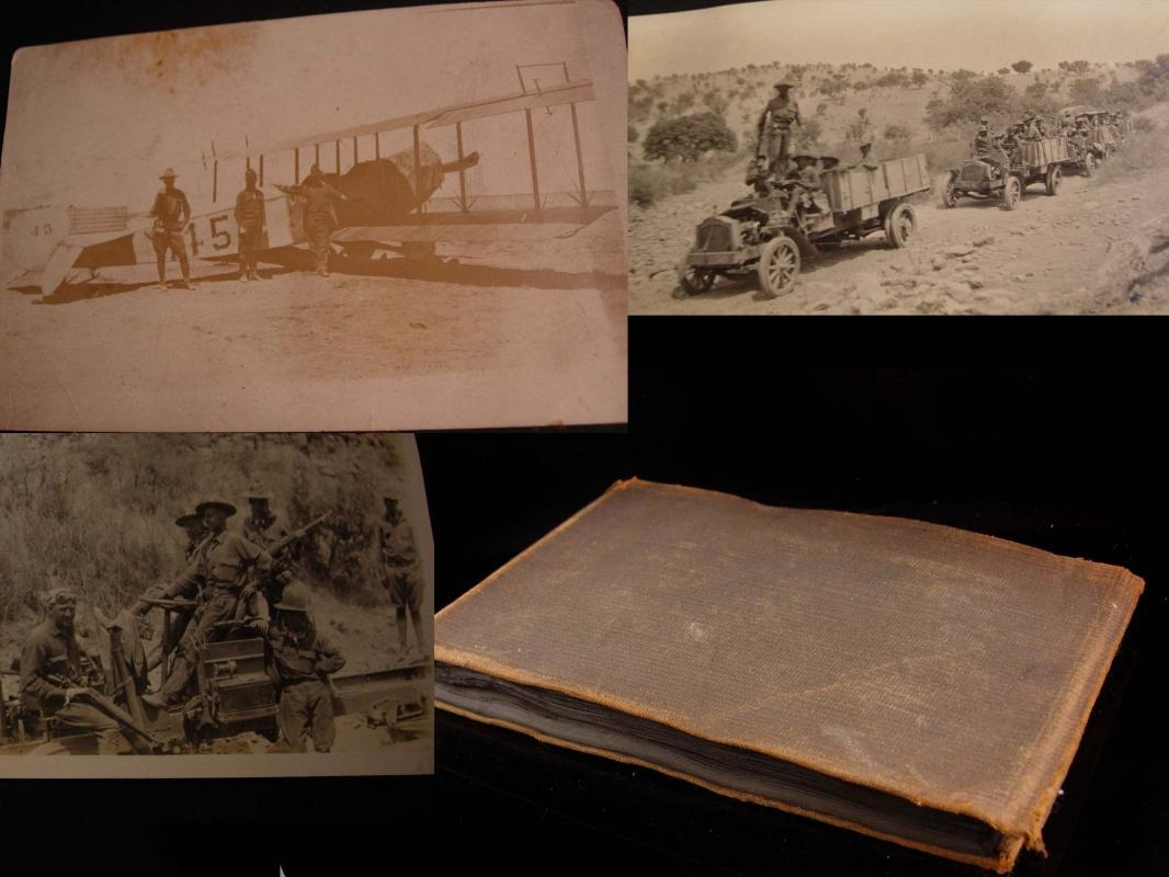 WW1 Military 46 photos book - 315th Engineer Battalion - 79th Division - biplane - motorcycle ambulance - army gunners - mexican  military