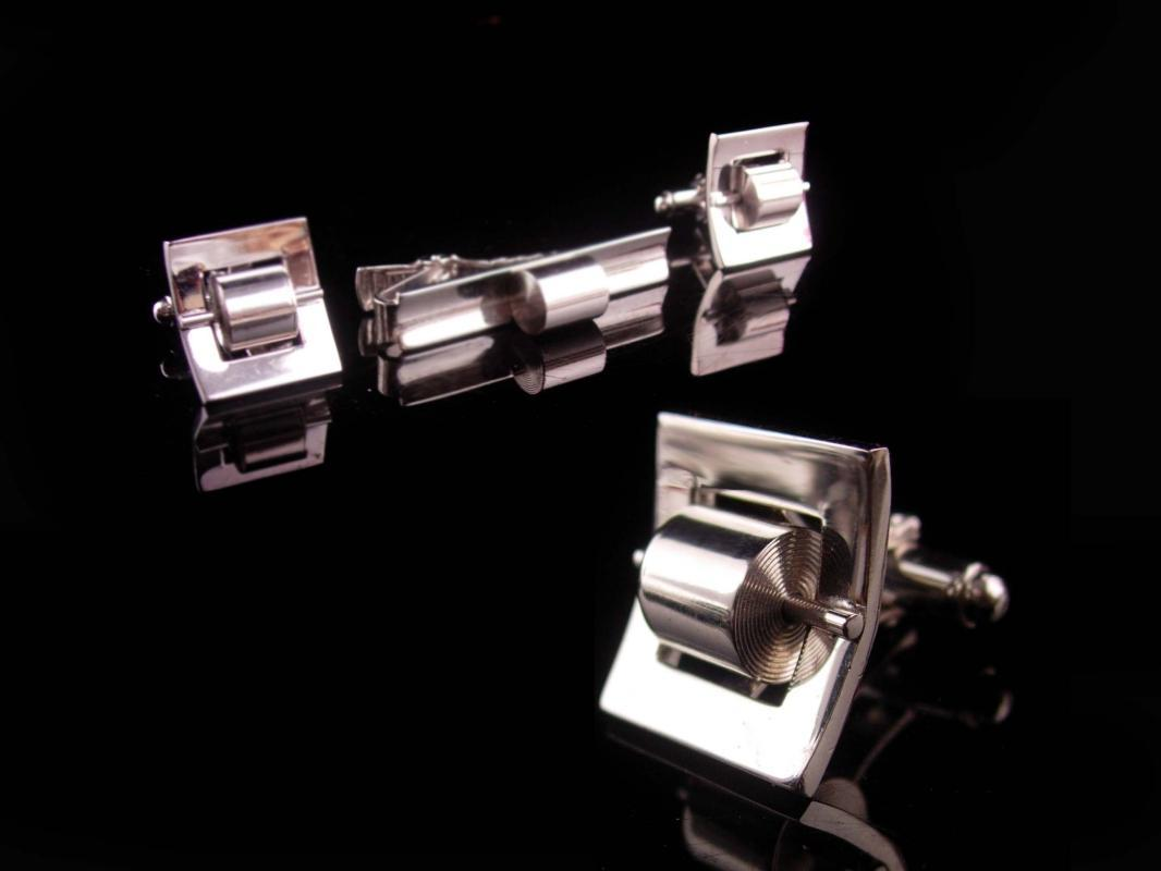 Rare Vintage spinning Cufflinks - mechanical metal rollers - Automobile mechanic - silver Anson Tie clip - novelty set