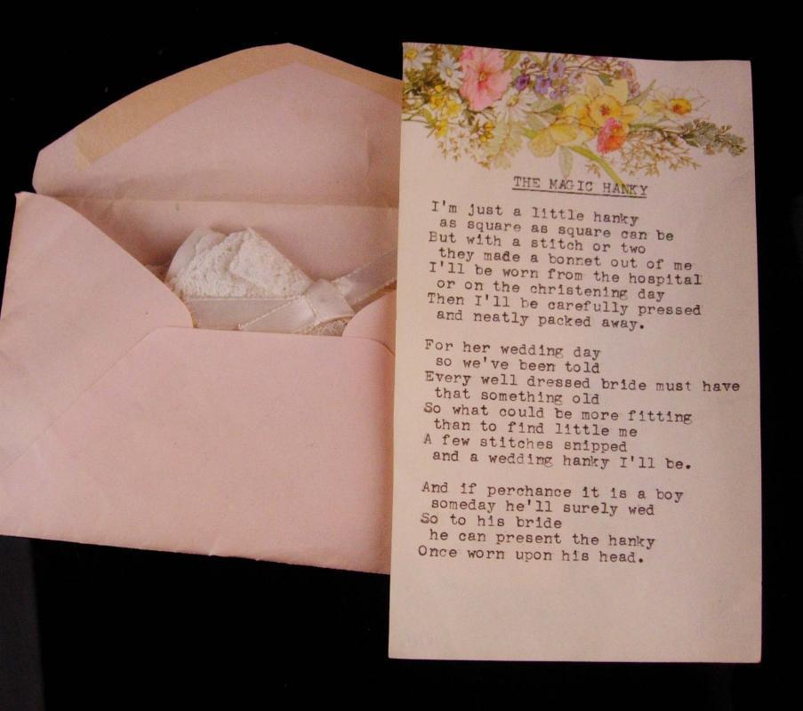 Vintage Heirloom gift - magic Hanky  - christening baby gift - new mom - wedding something old - unusual handkerchief - baby bonnet