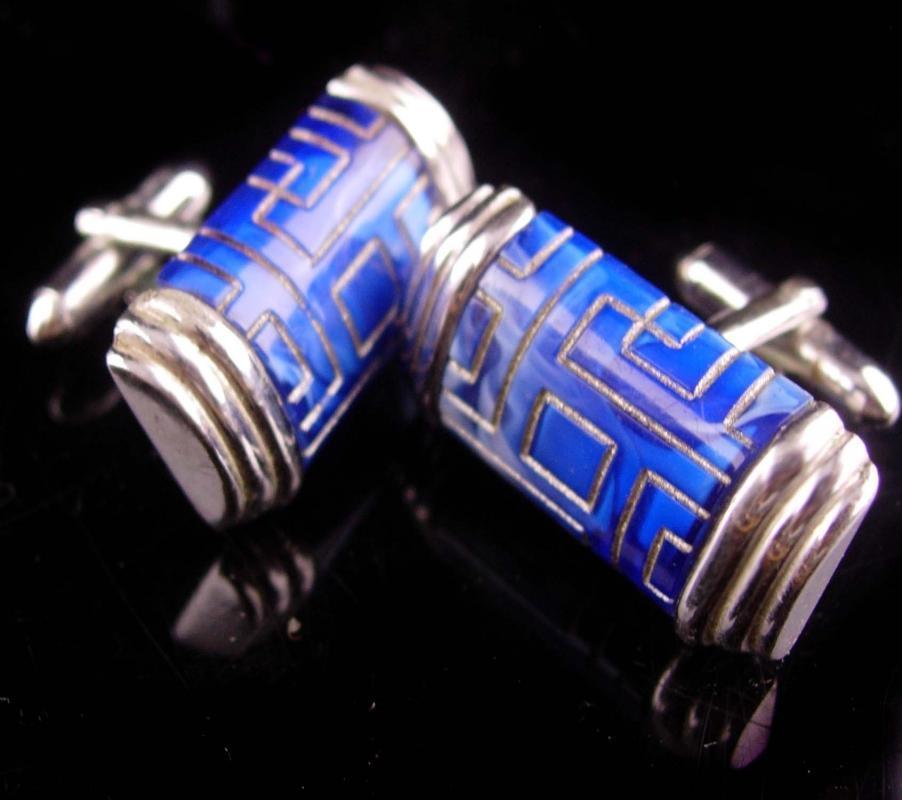 Vintage Greek Key cufflinks - swank carved blue lapis - eternity gift - 4th 5th 9th 24th 45th anniversary December Sagittarius Capricorn