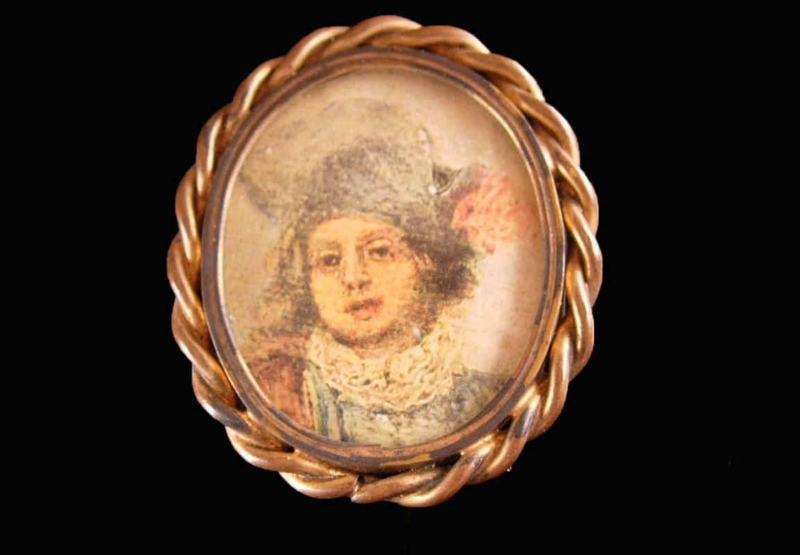 Victorian cameo portrait Brooch - child - little girl - 1800's pin - Large glass brass setting -wedding anniversary  C clasp