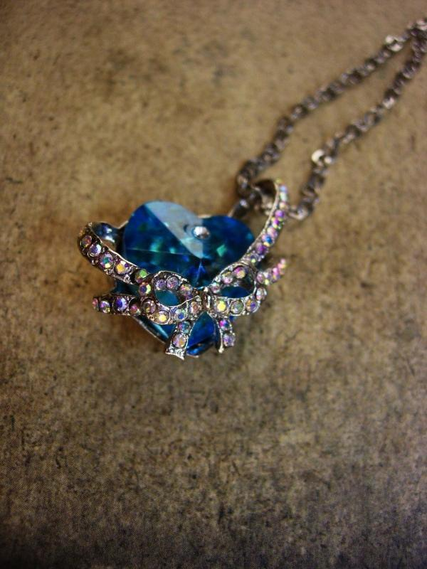 Rhinestone Heart necklace - blue swarovski prism heart pendant -  wedding 18th 65th anniversary December birthstone  sagittarius capricorn