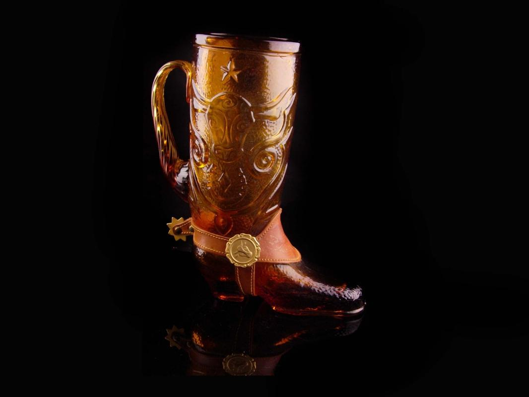 Vintage Custom leather glass Mug - Large tall amber glass - Vintage Texas Boot stein- rodeo novelty gift - bachelor party - cowboy drinking glass