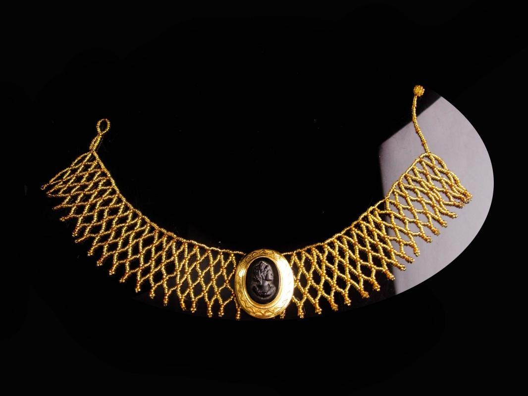 Victorian choker - fringe gold bead necklace - Vintage cameo brooch set - Edwardian necklace - vintage collar